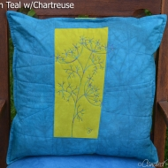 Teal-Chartreuse-Fennel-Botanical-Sketch-Pillow